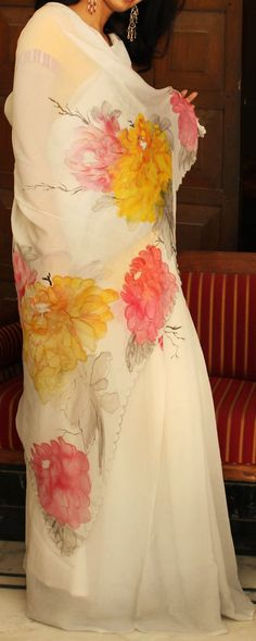 Inspiration Off white saree  Hand painted  @TVW
