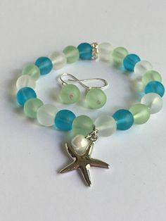 Kids Seaglass beads stretch braceletSea glass braceletBeach
