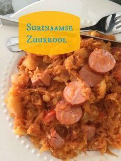 Recept Surinaamse Zuurkool Dutch Recipes, Cooking Recipes, Healthy Recipes, Healthy Food, Suriname Food, Food Porn, Comfort Food, Caribbean Recipes, Winter Food