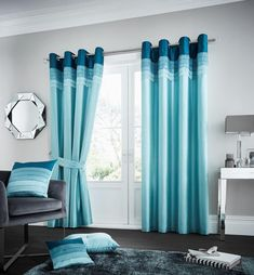 Geise Eyelet Room Darkening Curtains Brayden Studio Colour: Teal, Size per Panel: 167 W x 183 D cm Teal Bedding, Linen Bedding, Bed Linens, Turquoise Bedding, Plaid Bedding, Fitted Bed Sheets, Linen Sheets, Linen Store, Thermal Curtains
