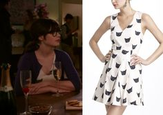 Jess on New Girl wears a cat print dress from Antropologie