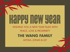 Happy Bamboo - Chinese New Year Cards by Hello Little One for Tiny Prints in Dijon Yellow