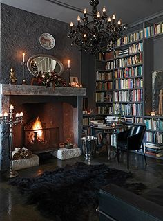 Like the dark walls and big fireplace