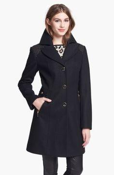Kenneth Cole New York Studded Shoulder Walking Coat (Online Only) | Nordstrom