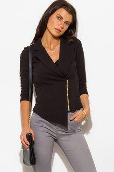 Cute cheap black asymmetrical hem quarter sleeve zip up fitted blazer jacket top
