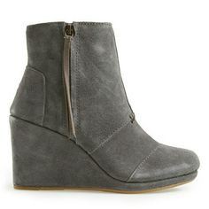 TOMS desert wedge side zip bootie TOMS desert wedge side zip bootie. Only worn 5 or 6 times. Very comfortable.  Looks great with jeans or a cute dress and tights. TOMS Shoes Ankle Boots & Booties