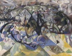 Fumée et arbres en fleurs by @artistvillon #frenchart #cubism