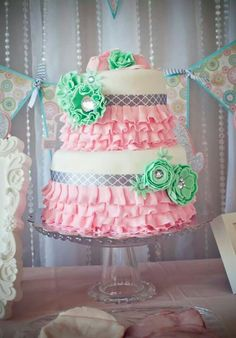 Pink and mint / tutu cake / Ruffle cake created by adohrable creations