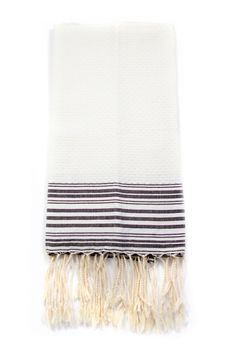 Scents & Feel White + Black Striped Fouta Guest Towel via Establishment Home
