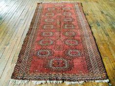 Vintage Afghan Rug - Short runner rug, Bohemian area rug