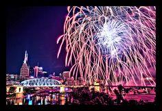 July Fireworks over Nashville's Cumberland River Living In Nashville, Nashville Tennessee, 4th Of July Fireworks, July 4th, Places Ive Been, Places To Visit, Cumberland River, 2nd City, The Locals
