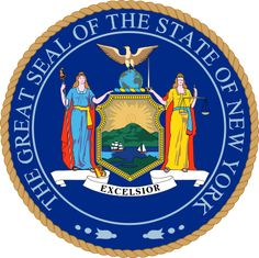 """The state seal of New York features the state arms (the coat of arms was officially adopted in surrounded by the words """"The Great Seal of the State of New York."""" A banner below shows the New York State motto (Excelsior, Latin for Ever Upward). Nagasaki, Hiroshima, Empire State, Puerto Rico, Student Loan Forgiveness, Thinking Day, New York Wedding, Student Loans, School Loans"""