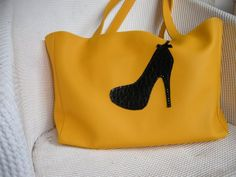Black Stiletto Large Yellow Faux Leather Tote Bag