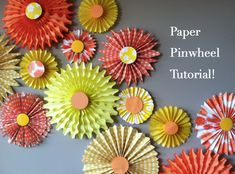 I made these awesome paper pinwheels for my daughter's Sunshine Birthday Party and I am excited to share the full tutorial with you! There are already plenty of pinwheel / medallion tutorials out there, but I'm Pinwheel Tutorial, Diy Pinwheel, Snowman Crafts, Christmas Crafts, Christmas 2019, Toilet Paper Roll Crafts, Paper Crafts, How To Make Pinwheels, Paper Pinwheels