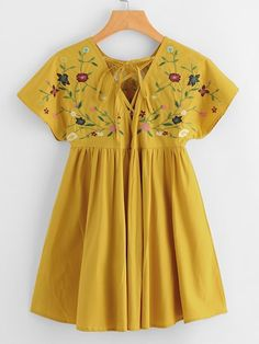 Shop Flower Embroidered Tie Up V Back Smock Dress online. SheIn offers Flower Embroidered Tie Up V Back Smock Dress & more to fit your fashionable needs. Frock Design, Vestido Boho Chic, Little Girl Dresses, Girls Dresses, Girl Outfits, Fashion Outfits, Kids Frocks, Mexican Dresses, Designer Kurtis