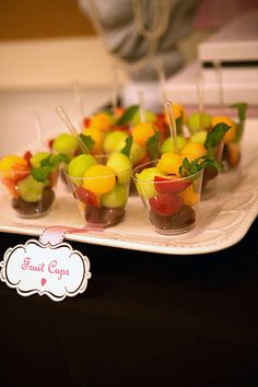 Fruit Cups: A healthy snack for Carla's guests.  Source: Keren Precel Events