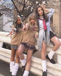 Gyaru Fashion, Harajuku Fashion, Fashion Outfits, School Uniform Fashion, Popteen, School Girl Dress, Schoolgirl Style, Japanese Street Fashion, Sexy Hot Girls