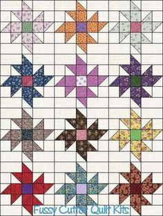Scrappy Fabric Pinwheel Flowers Floral Easy to Make Pre-Cut Quilt Blocks Top Kit Squares - Picmia
