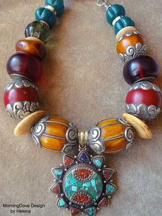 Nepalese Tribal Colors necklace bold beads by MorningDoveDesign, $128.00