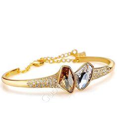 18k gold plated make a vow swarovski crystal unique golden bracelet