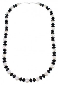 Native American Fresh Water Pearl And Onyx Silver Bead Necklace WX69409