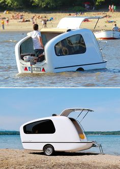 Sealander - No need to decide between the camper or the boat: the Sealander is both. This German-designed amphibious mini-camper is light enough to be towed behind your car and offers the option of camping beside the lake or floating on it. Simply mount an outboard motor to the stern and the Sealander is ready for your voyage