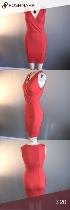 """Zara Melon-colored Bodycon Dress In great shape this flattering poly/spandex has side zipper and nice crossover neckline with side ruching for give and forgiveness. Bust 36"""" waist 27"""" length 32 1/2"""". Zara Dresses Mini"""