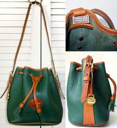 Dooney   Bourke Green Pebble Leather Bucket Handbag 704982e2a1a8d