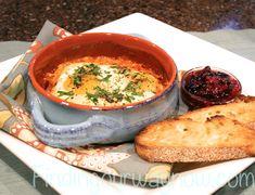 Shirred Eggs With Ham and Tomato Sauce, findingourwaynow.com