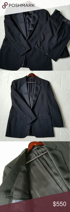 """The ONLY Tuxedo You'll Ever Need LIKE NEW!! Burberry 100% wool tuxedo with satin trim. This tuxedo is BEAUTIFUL. The measurements are as follows: Jacket: Across shoulders 19.5"""" Sleeves 25"""" Underarms across chest 22"""" Length from shoulder to bottom hem 29.5"""" Pants: Waist 18"""" across  Inseam 29.5"""" Outside length 41.5"""" Pants feature buttons on the inside to attach suspenders.  This is your opportunity to own a HIGH QUALITY, HANDMADE tuxedo by one of the most renowned clothing companies in the…"""