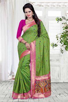 $85.16 silGreen Silk Wedding Saree With Blouse 57076
