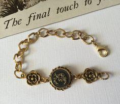 Rose Bracelet   Chain Link Bracelet  Floral by VintageRedo on Etsy