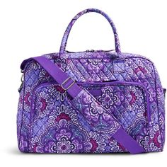Vera Bradley Weekender Travel Bag in Lilac Tapestry ($98) ❤ liked on Polyvore featuring bags, luggage and lilac tapestry