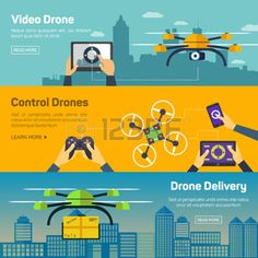 delivery drone: Set of drone banners - shipping, surveillance, control. Drone horizontal banners set with delivery and control elements isolated vector illustration