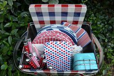 1950's Style Metal Plaid Picnic Basket $14.99 at World Market via Three Pixie Lane