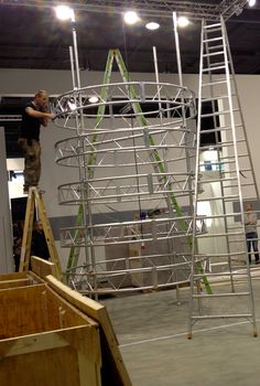 Constructing the Tower of Innovation at the Musikmesse in Frankfurt, Germany