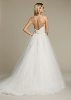 Jim Hjelm by Haley Paige Style JH8550 Ivory Taupe Tulle bridal ball gown, modified sweetheart neckline, draped bodice with natural waist accented with pearl and crystal trim, sweep train.