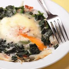 Florentine hash skillet.  Great low cal, high fiber, high protein breakfast. 226 cal per serving.