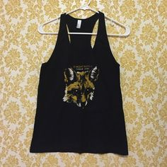 Night Riots Band Tank Black with a golden fox. Night Riots band, American Apparel brand tank top. American Apparel Tops Tank Tops