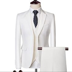 White (Blazer Pants Vest) Classic Men Formal Business Suit Slim Fashion Wedding Groom Wear Male Suit Gentlemen Costume sold by FashionOk. Shop more products from FashionOk on Storenvy, the home of independent small businesses all over the world. Formal Suits, Men Formal, Suit Fashion, Luxury Fashion, Mens Fashion, Fashion Rings, Fall Fashion, Fashion Ideas, Mens Suits For Sale