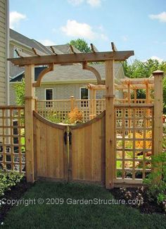 Wooden Fence Gate With Arbor