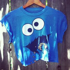 Vintage style Reworked Cookie monster hipster crop shirt ($28) ❤ liked on Polyvore