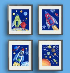 space wall art decor print for boy nursery or bedroom space watercolor art prints Outer Space Nursery, Space Themed Nursery, Nursery Wall Decor, Nursery Art, Wall Art Decor, Wall Art Prints, Nursery Prints, Kids Room Art, Art Wall Kids