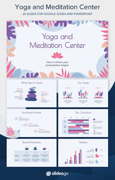 Explain the benefits of yoga and meditation with this Google Slides and PPT template to attract new students Presentation Design Template, Booklet Design, Presentation Folder, Presentation Slides, Powerpoint Design Templates, Powerpoint Background Design, Ppt Template, Brochure Design Layouts, Slide Design