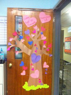 Cute Valentines Day classroom door decoration .