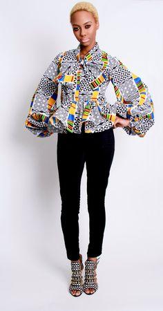 The Naomi African Print 100 Holland Wax Cotton Blouse by DemestiksNewYork African Inspired Fashion, African Print Fashion, Africa Fashion, Ethnic Fashion, Fashion Prints, African Prints, Fashion Design, Ankara Fashion, Bohemian Fashion