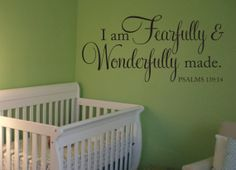 Fearfully and Wonderfully Made Decal Bible Verse Vinyl Wall Decal Scripture Wall Decal Nursery Decal Girls Boys Bedroom Vinyl Wall Decal & I am a gift from God Wall Decal - Baby Nursery KJV Scripture Vinyl ...