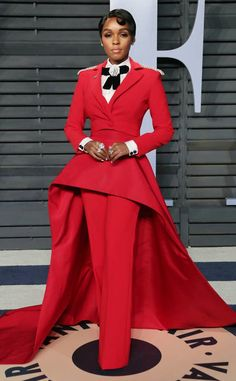 Janelle Monáe from 2018 Vanity Fair Oscars After-Party The songstress  brought a big splash of color to the after-party carpet in a red Christian  Siriano ... 14c65af63