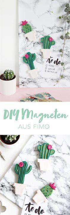 Kreative DIY Idee zum Selbermachen: DIY Kaktus Magneten aus Fimo selbstgemacht   DIY aus Modelliermasse   Kaktus DIY   Clay Magnets Cactus   DIY Blog