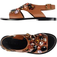 Marni Sandals (1,650 SAR) ❤ liked on Polyvore featuring shoes, sandals, tan, marni, round cap, tan sandals, tan flat shoes and animal shoes